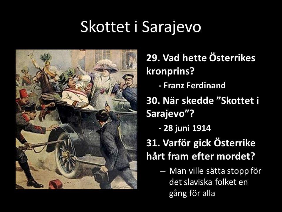 Skottet i Sarajevo 29. Vad hette Österrikes kronprins.
