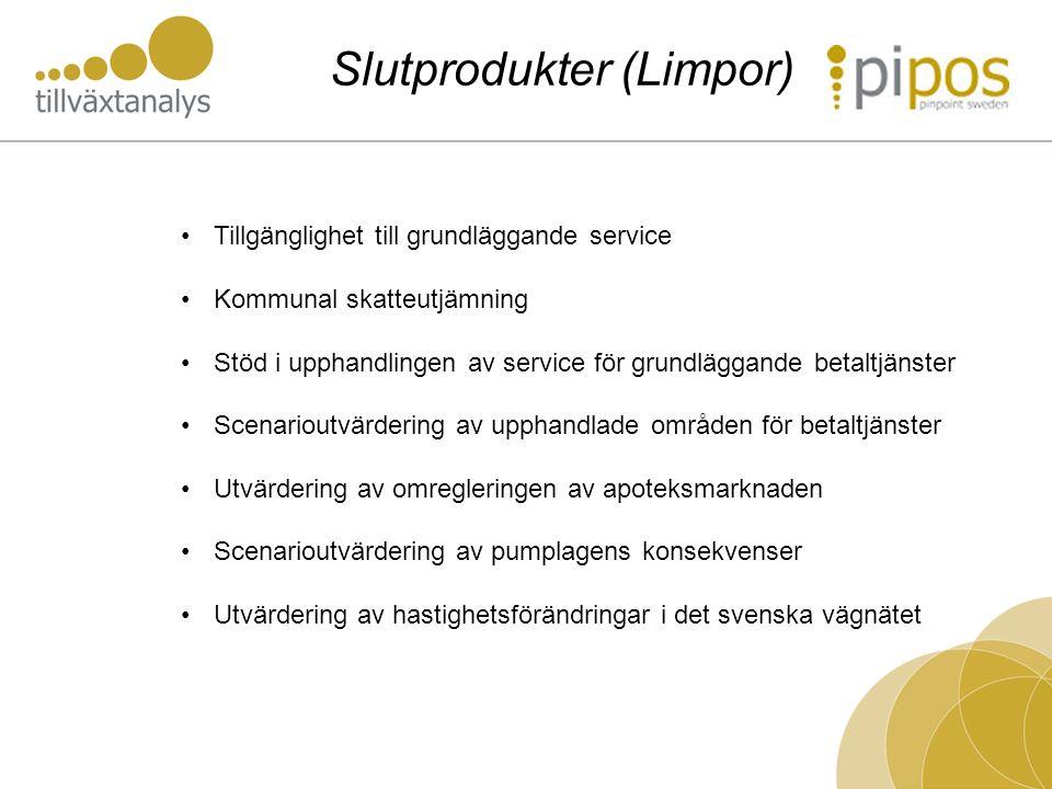 Slutprodukter (Limpor) Tillgänglighet till grundläggande service Kommunal skatteutjämning Stöd i upphandlingen av service för grundläggande betaltjäns