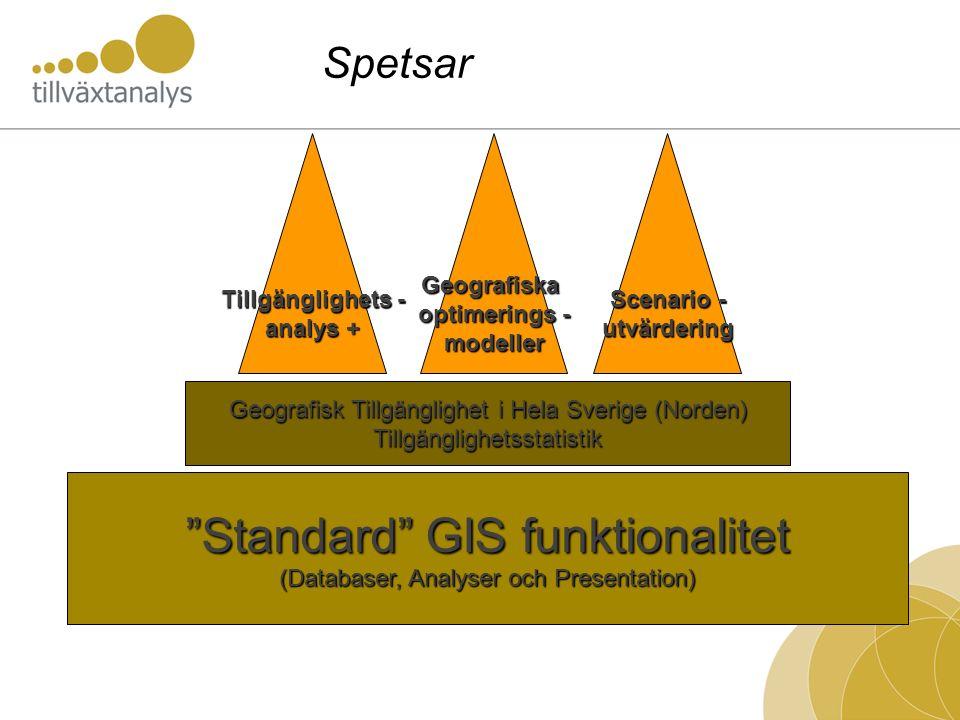 """""""Standard"""" GIS funktionalitet (Databaser, Analyser och Presentation) Geografisk Tillgänglighet i Hela Sverige (Norden) Tillgänglighetsstatistik Tillgä"""