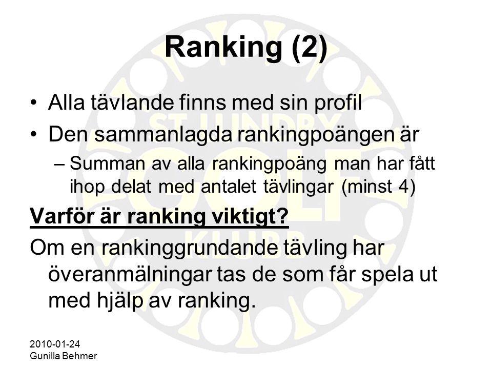 2010-01-24 Gunilla Behmer Ranking (2) Alla tävlande finns med sin profil Den sammanlagda rankingpoängen är –Summan av alla rankingpoäng man har fått i