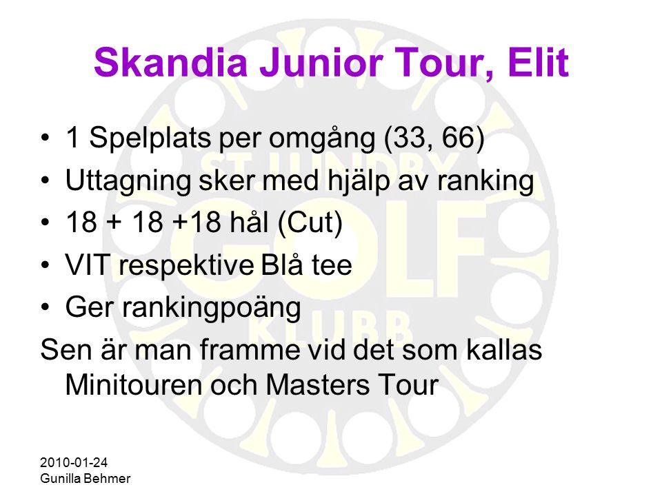 2010-01-24 Gunilla Behmer 1 Spelplats per omgång (33, 66) Uttagning sker med hjälp av ranking 18 + 18 +18 hål (Cut) VIT respektive Blå tee Ger ranking