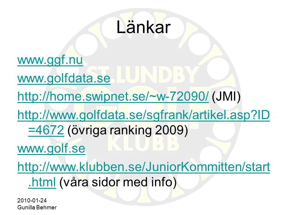 2010-01-24 Gunilla Behmer Länkar www.ggf.nu www.golfdata.se http://home.swipnet.se/~w-72090/http://home.swipnet.se/~w-72090/ (JMI) http://www.golfdata