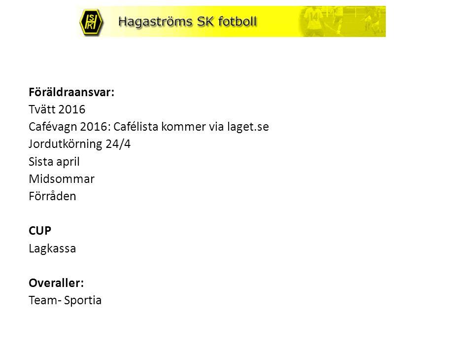 Föräldraansvar: Tvätt 2016 Cafévagn 2016: Cafélista kommer via laget.se Jordutkörning 24/4 Sista april Midsommar Förråden CUP Lagkassa Overaller: Team