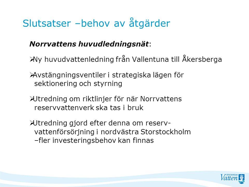 Slutsatser –behov av åtgärder Norrvattens huvudledningsnät:  Ny huvudvattenledning från Vallentuna till Åkersberga  Avstängningsventiler i strategis
