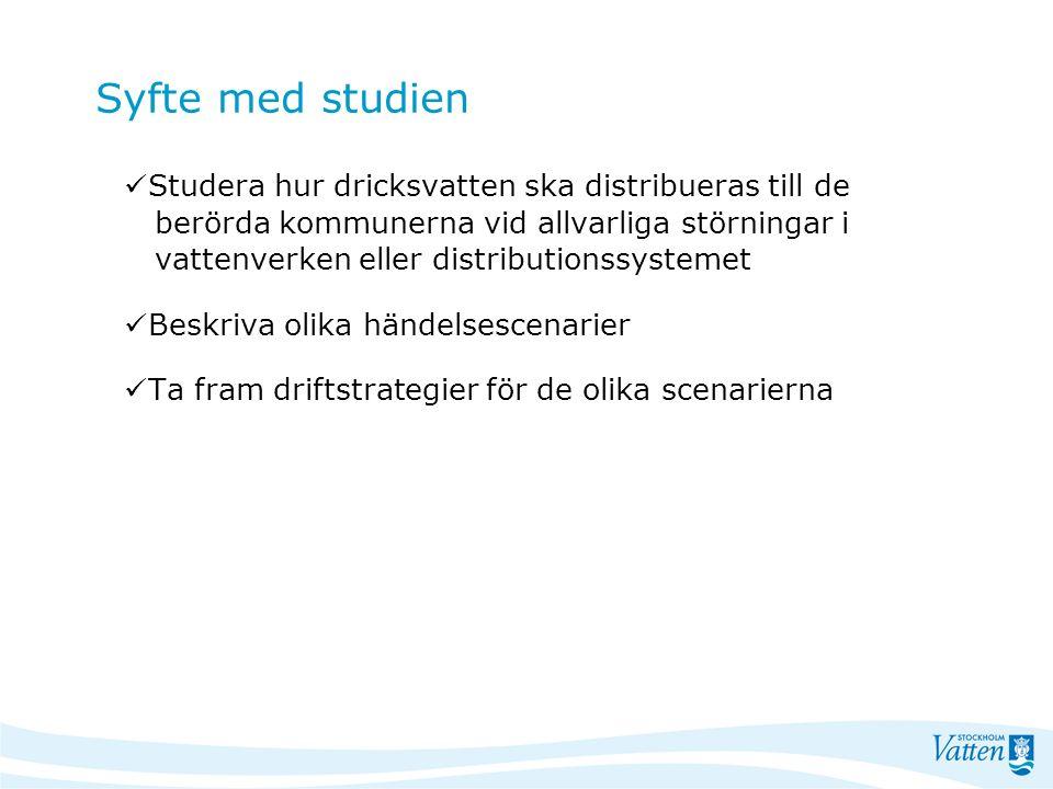 Projektets genomförande –olika förutsättningar Stockholm Vatten: - har beräkningsmodell för huvudledningsnätet >300 mm - verifierad med uppmätta värden på flöden och nivåer Norrvatten: - har beräkningsmodell för sitt ledningsnät - ej verifierad med mätvärden - Beräkningarna kompletterade med en övergripande vattenbalansstudie.