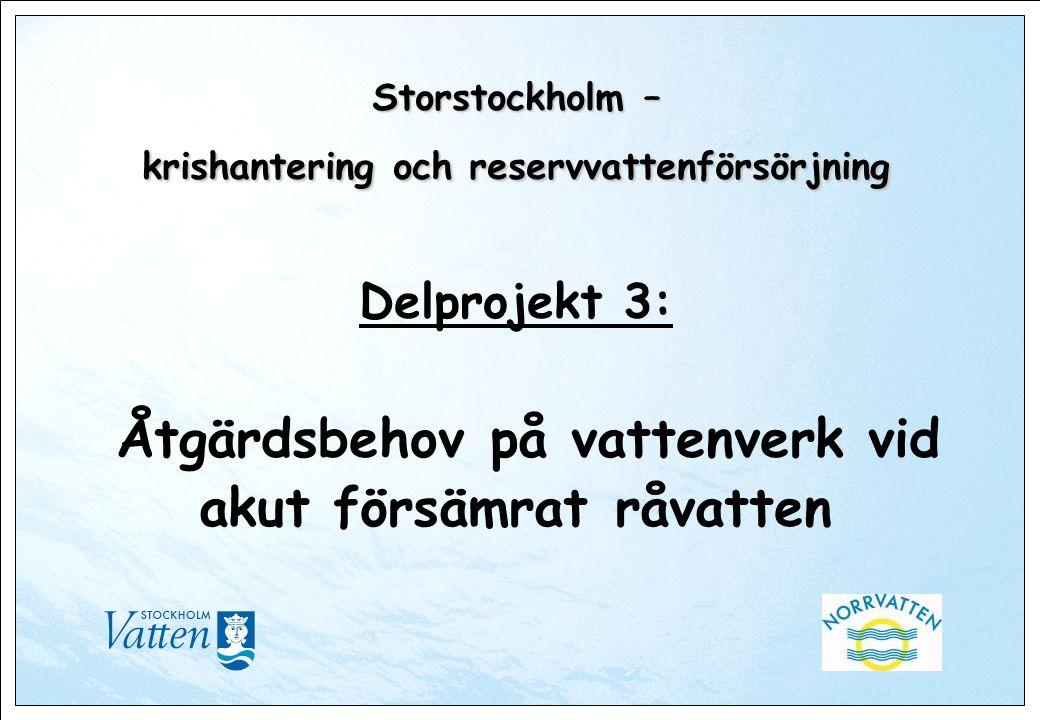 Storstockholm – krishantering och reservvattenförsörjning Storstockholm – krishantering och reservvattenförsörjning Delprojekt 3: Åtgärdsbehov på vattenverk vid akut försämrat råvatten