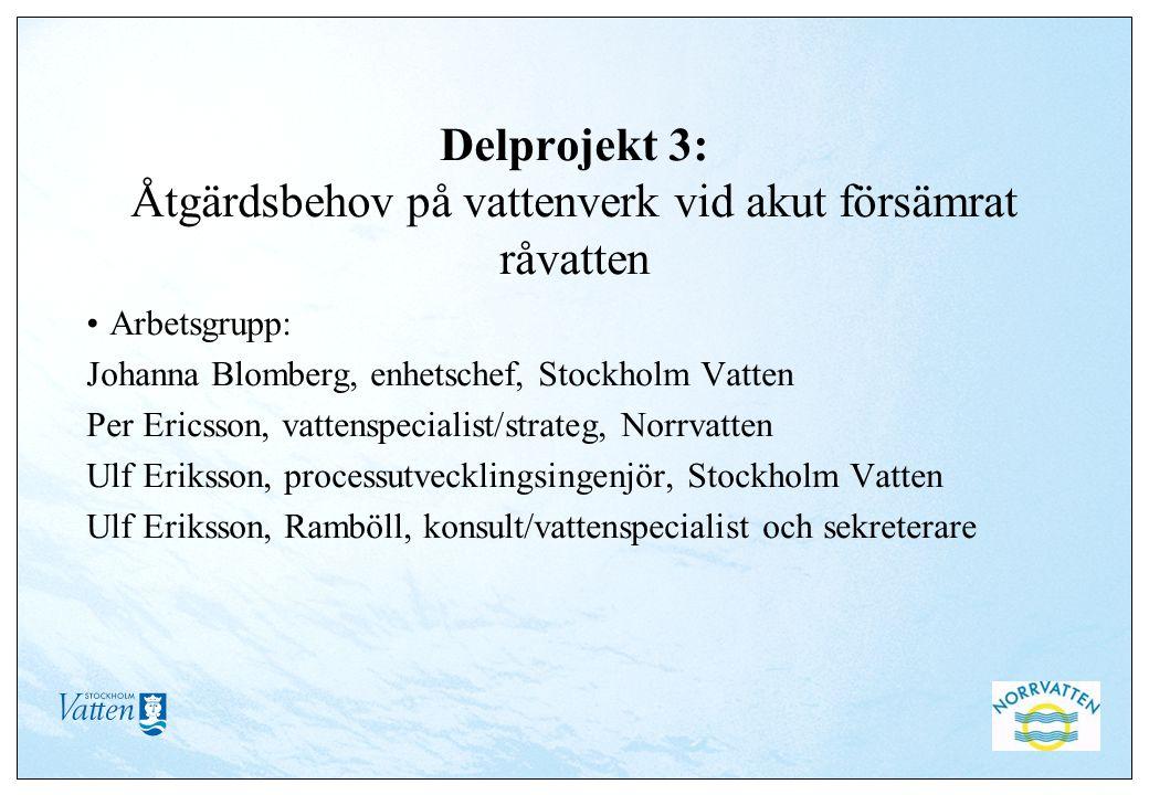 Delprojekt 3: Åtgärdsbehov på vattenverk vid akut försämrat råvatten Arbetsgrupp: Johanna Blomberg, enhetschef, Stockholm Vatten Per Ericsson, vattens
