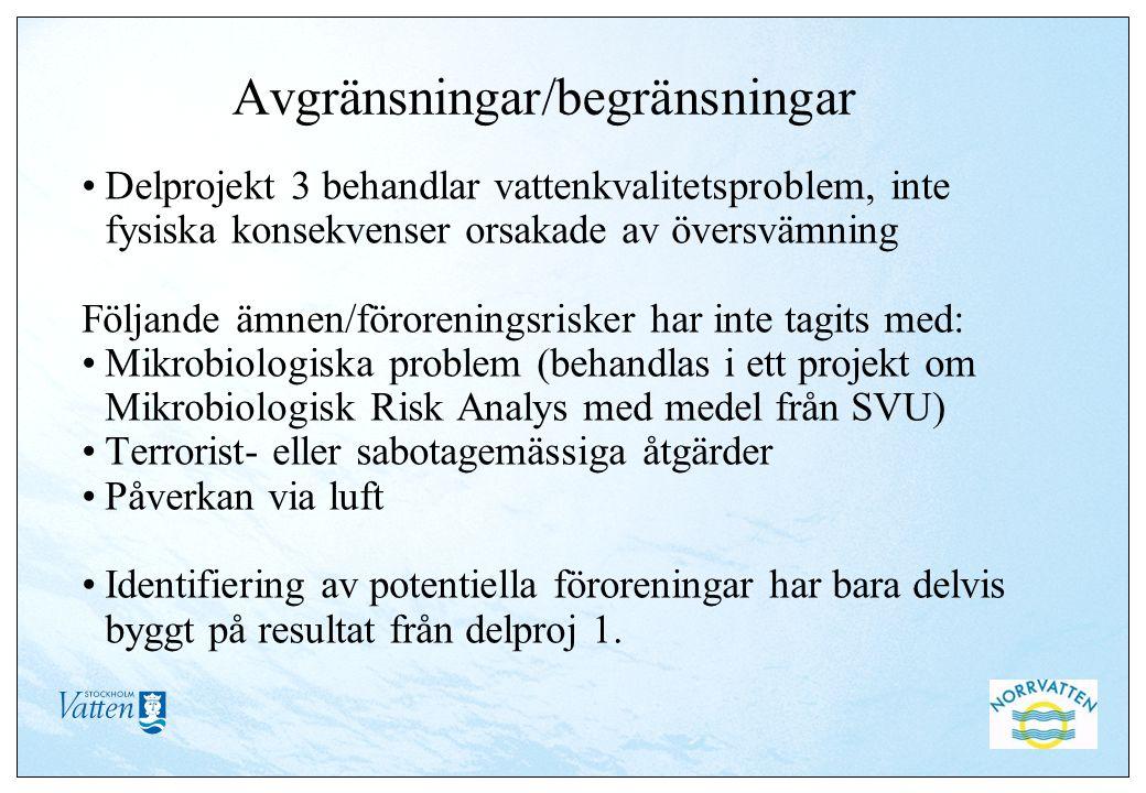 Avgränsningar/begränsningar Delprojekt 3 behandlar vattenkvalitetsproblem, inte fysiska konsekvenser orsakade av översvämning Följande ämnen/föroreningsrisker har inte tagits med: Mikrobiologiska problem (behandlas i ett projekt om Mikrobiologisk Risk Analys med medel från SVU) Terrorist- eller sabotagemässiga åtgärder Påverkan via luft Identifiering av potentiella föroreningar har bara delvis byggt på resultat från delproj 1.