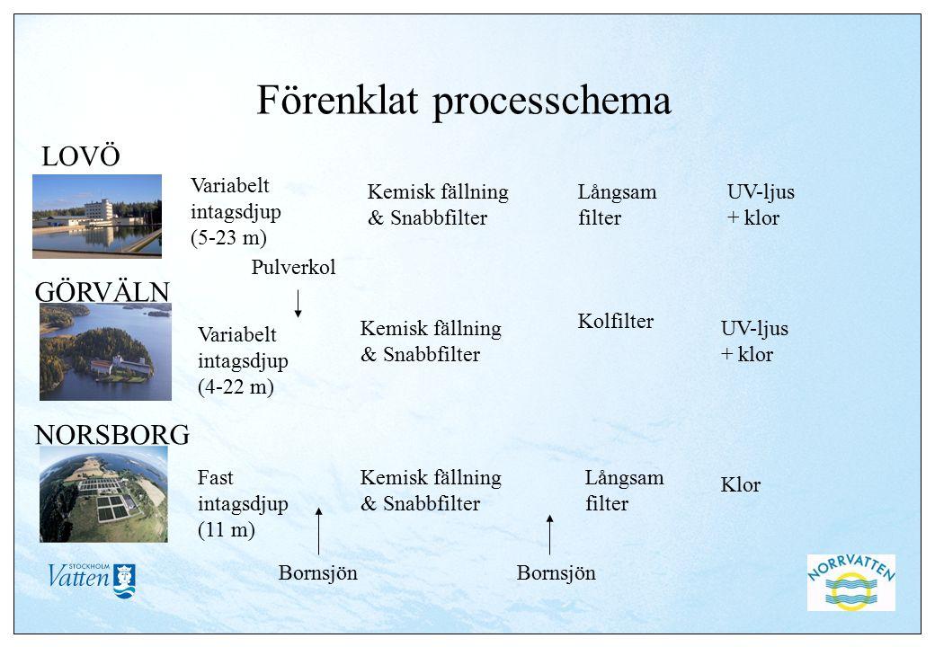 Förenklat processchema Variabelt intagsdjup (5-23 m) Kemisk fällning & Snabbfilter Långsam filter Kolfilter Pulverkol UV-ljus + klor Klor Variabelt in