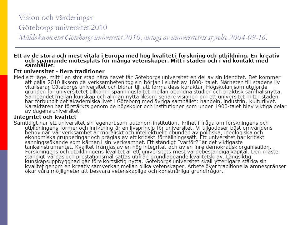 Vision och värderingar Göteborgs universitet 2010 Måldokumentet Göteborgs universitet 2010, antogs av universitetets styrelse 2004-09-16.