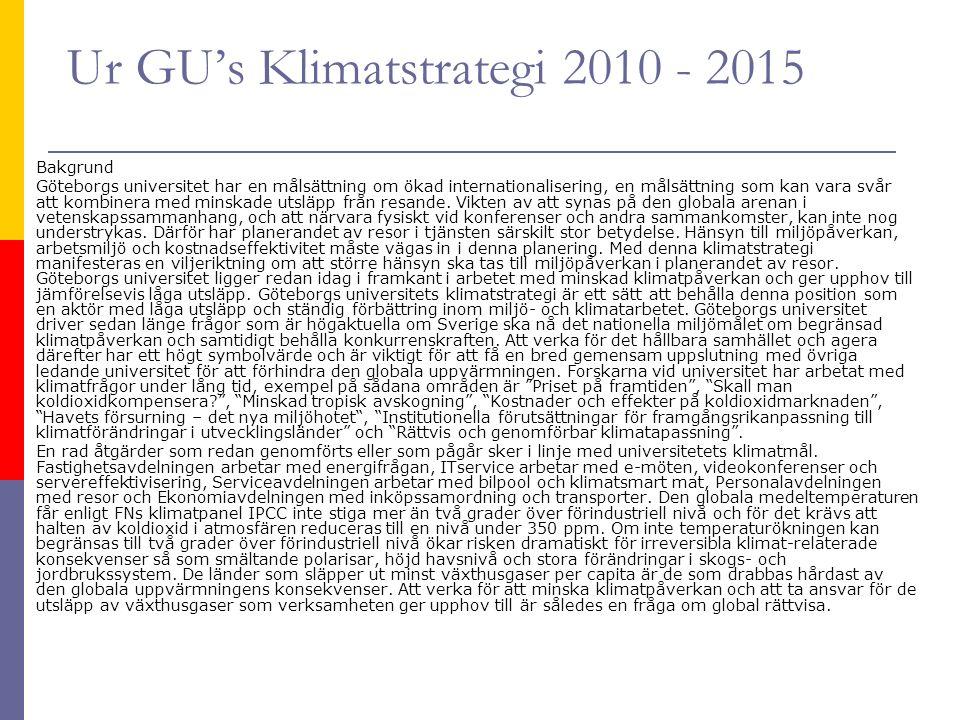 Ur GU's Klimatstrategi 2010 - 2015 Bakgrund Göteborgs universitet har en målsättning om ökad internationalisering, en målsättning som kan vara svår att kombinera med minskade utsläpp från resande.
