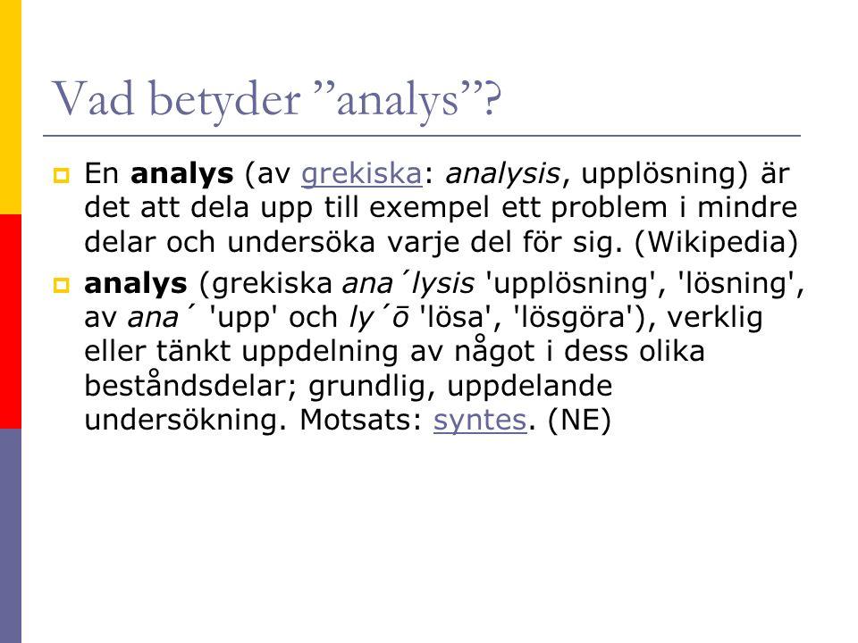 Vad betyder analys .