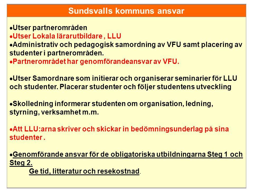 Sundsvalls kommuns ansvar  Utser partnerområden  Utser Lokala lärarutbildare, LLU  Administrativ och pedagogisk samordning av VFU samt placering av studenter i partnerområden.