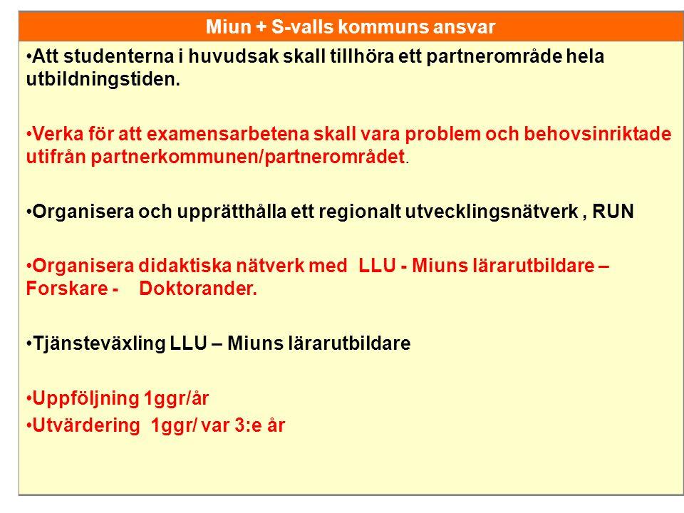 Miun + S-valls kommuns ansvar Att studenterna i huvudsak skall tillhöra ett partnerområde hela utbildningstiden. Verka för att examensarbetena skall v