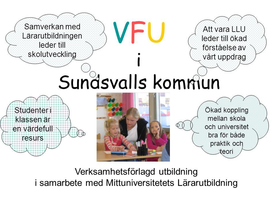VFU i Sundsvalls kommun Verksamhetsförlagd utbildning i samarbete med Mittuniversitetets Lärarutbildning Att vara LLU leder till ökad förståelse av vårt uppdrag Samverkan med Lärarutbildningen leder till skolutveckling Studenter i klassen är en värdefull resurs Ökad koppling mellan skola och universitet bra för både praktik och teori