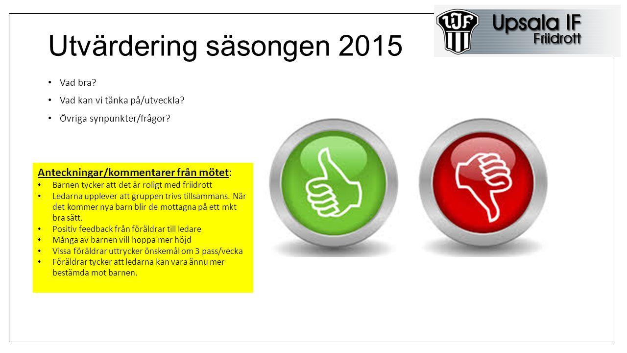 Information från UIF Anteckningar/kommentarer från mötet: Friidrottshallen vid Gränby kommer att invigas hösten 2016.