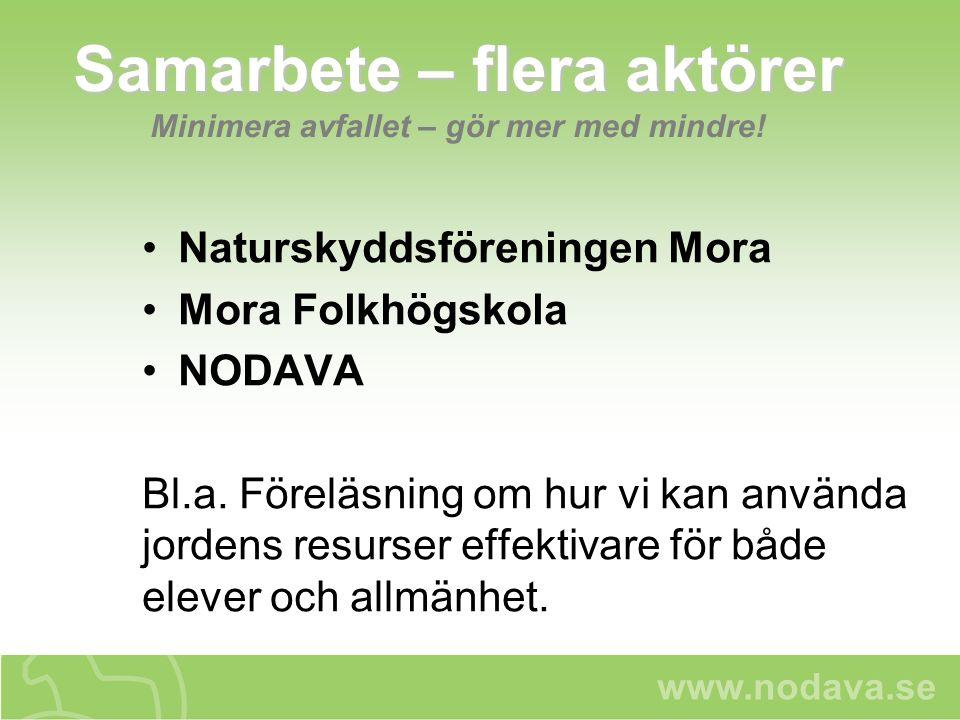 www.nodava.se Samarbete – flera aktörer Samarbete – flera aktörer Minimera avfallet – gör mer med mindre! Naturskyddsföreningen Mora Mora Folkhögskola