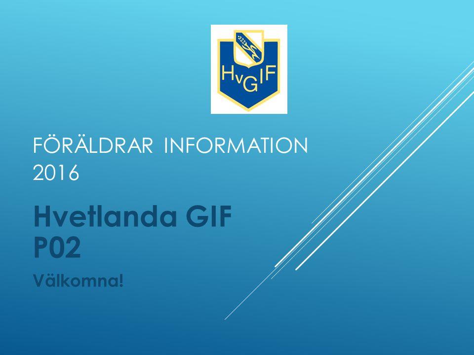 FÖRÄLDRAR INFORMATION 2016 Hvetlanda GIF P02 Välkomna!