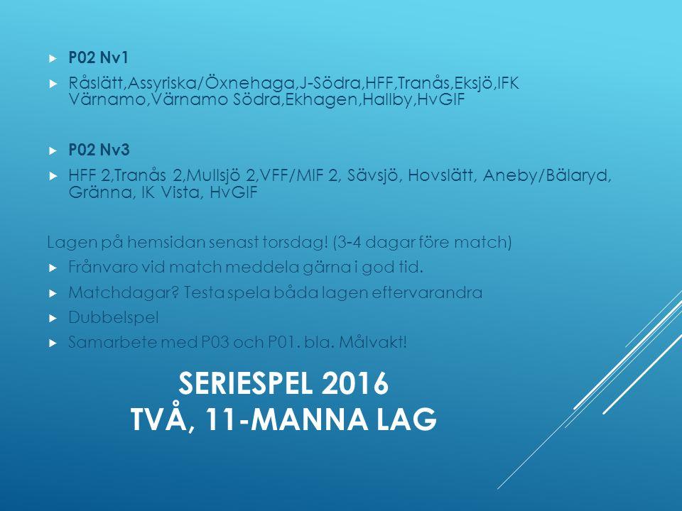 SERIESPEL 2016 TVÅ, 11-MANNA LAG  P02 Nv1  Råslätt,Assyriska/Öxnehaga,J-Södra,HFF,Tranås,Eksjö,IFK Värnamo,Värnamo Södra,Ekhagen,Hallby,HvGIF  P02 Nv3  HFF 2,Tranås 2,Mullsjö 2,VFF/MIF 2, Sävsjö, Hovslätt, Aneby/Bälaryd, Gränna, IK Vista, HvGIF Lagen på hemsidan senast torsdag.