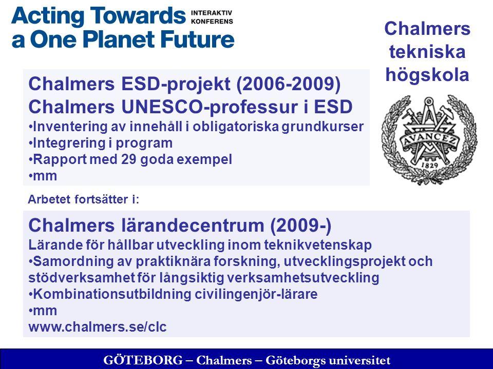 GÖTEBORG – Chalmers – Göteborgs universitet Chalmers ESD-projekt (2006-2009) Chalmers UNESCO-professur i ESD Inventering av innehåll i obligatoriska grundkurser Integrering i program Rapport med 29 goda exempel mm Chalmers tekniska högskola Chalmers lärandecentrum (2009-) Lärande för hållbar utveckling inom teknikvetenskap Samordning av praktiknära forskning, utvecklingsprojekt och stödverksamhet för långsiktig verksamhetsutveckling Kombinationsutbildning civilingenjör-lärare mm www.chalmers.se/clc Arbetet fortsätter i:
