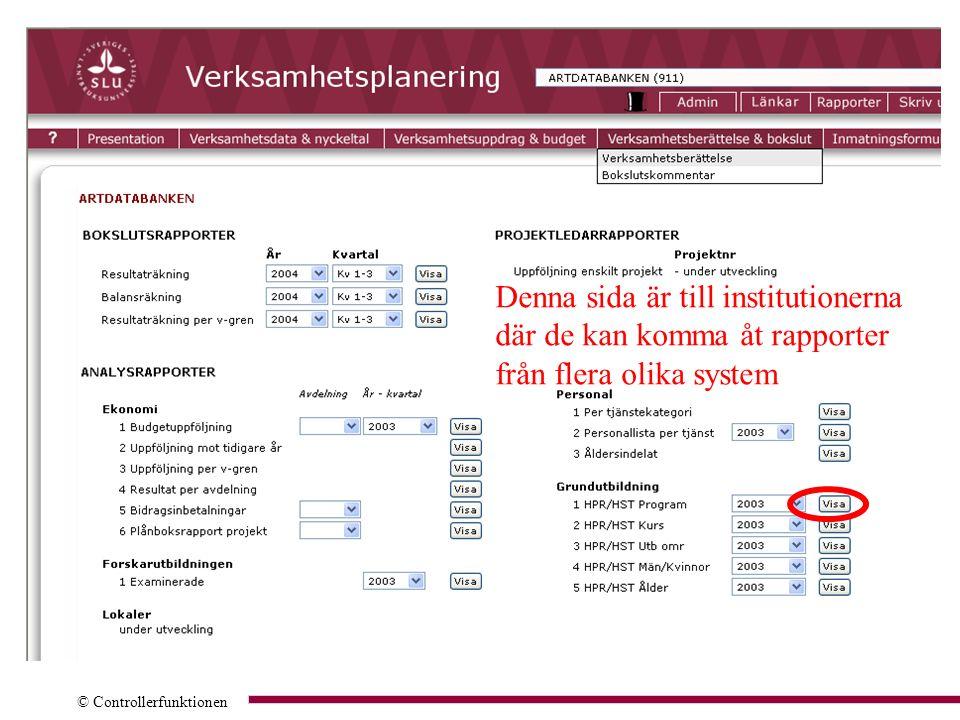 © Controllerfunktionen Denna sida är till institutionerna där de kan komma åt rapporter från flera olika system