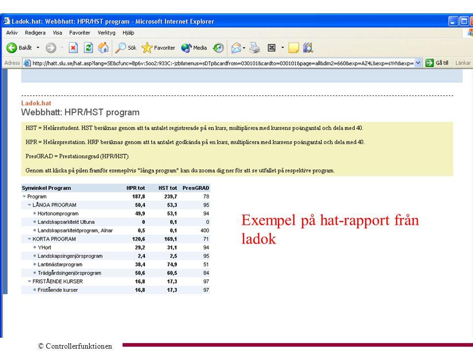 © Controllerfunktionen Exempel på hat-rapport från ladok