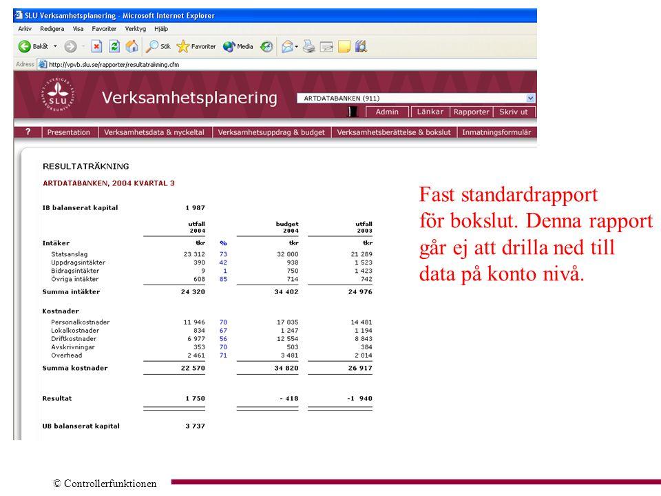 Fast standardrapport för bokslut. Denna rapport går ej att drilla ned till data på konto nivå.