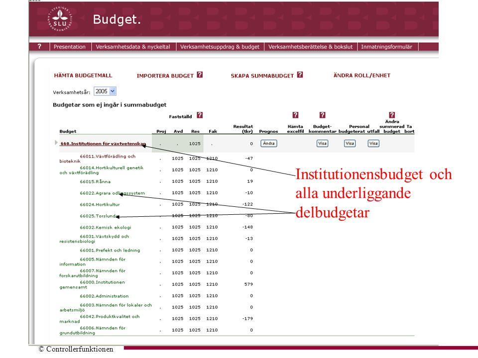 © Controllerfunktionen Institutionensbudget och alla underliggande delbudgetar