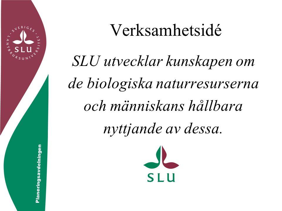 © Controllerfunktionen Verksamhetsidé SLU utvecklar kunskapen om de biologiska naturresurserna och människans hållbara nyttjande av dessa. Planeringsa