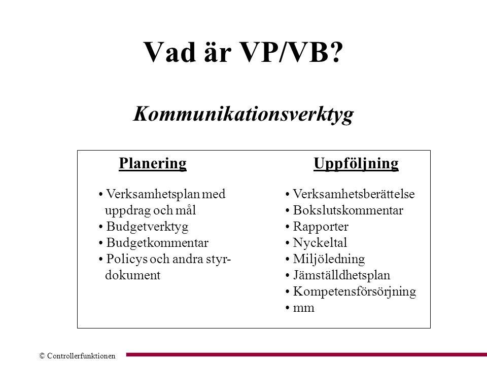 © Controllerfunktionen Vad är VP/VB? Kommunikationsverktyg PlaneringUppföljning Verksamhetsplan med uppdrag och mål Budgetverktyg Budgetkommentar Poli