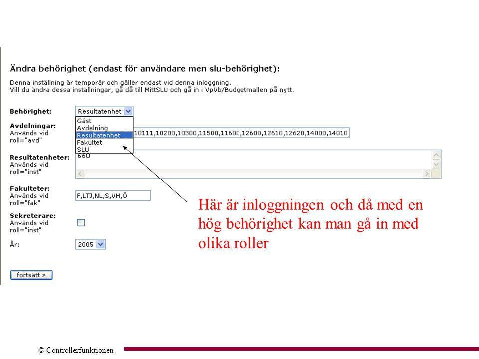 © Controllerfunktionen Olika rapporter till olika användare För experter att Komma åt hatten För institutioner att Komma åt webbhatt