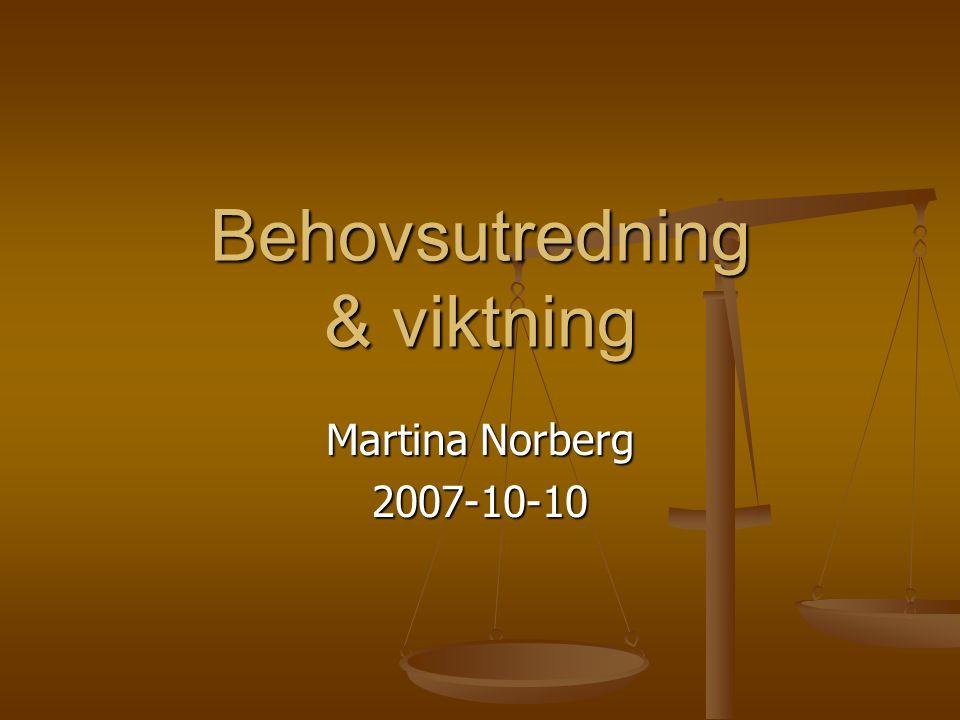Behovsutredning & viktning Martina Norberg 2007-10-10
