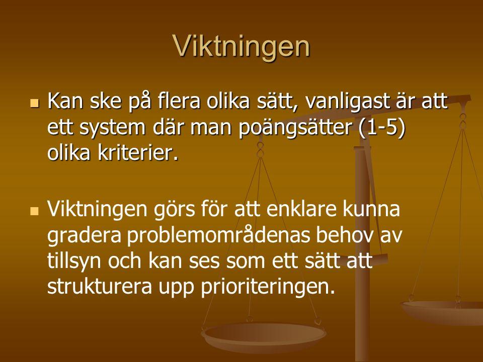 Viktningen Kan ske på flera olika sätt, vanligast är att ett system där man poängsätter (1-5) olika kriterier.