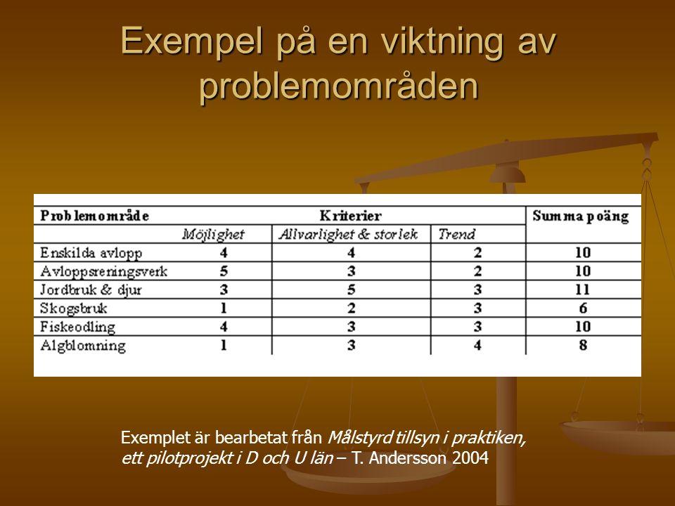 Exempel på en viktning av problemområden Exemplet är bearbetat från Målstyrd tillsyn i praktiken, ett pilotprojekt i D och U län – T. Andersson 2004