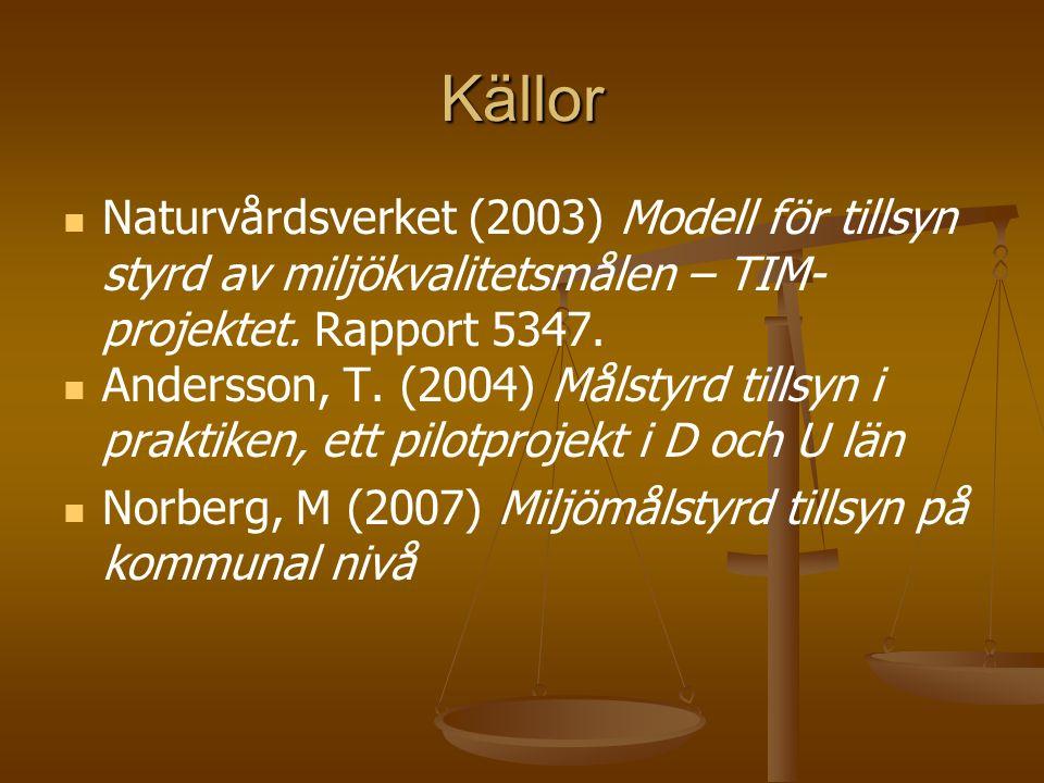 Källor Naturvårdsverket (2003) Modell för tillsyn styrd av miljökvalitetsmålen – TIM- projektet. Rapport 5347. Andersson, T. (2004) Målstyrd tillsyn i