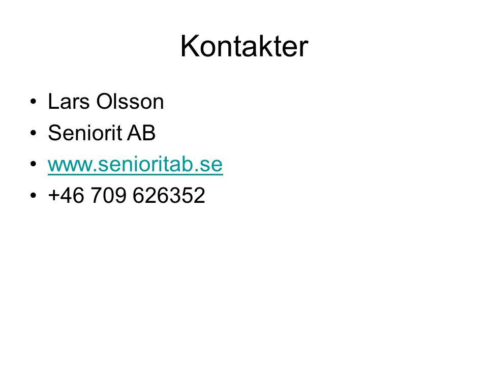 Kontakter Lars Olsson Seniorit AB www.senioritab.se +46 709 626352