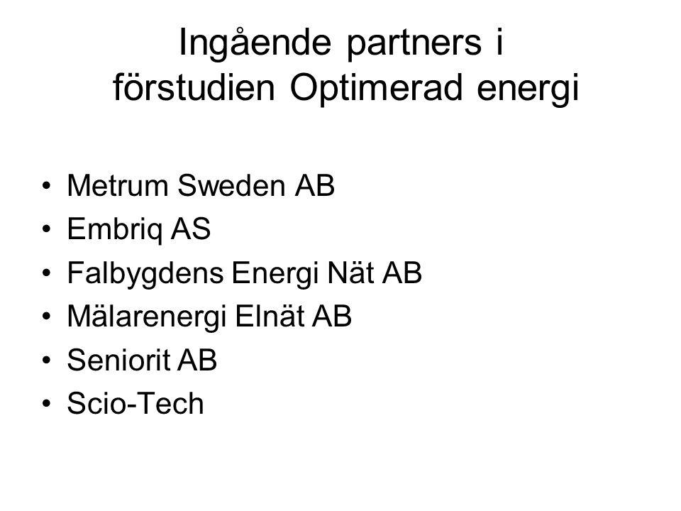 Ingående partners i förstudien Optimerad energi Metrum Sweden AB Embriq AS Falbygdens Energi Nät AB Mälarenergi Elnät AB Seniorit AB Scio-Tech
