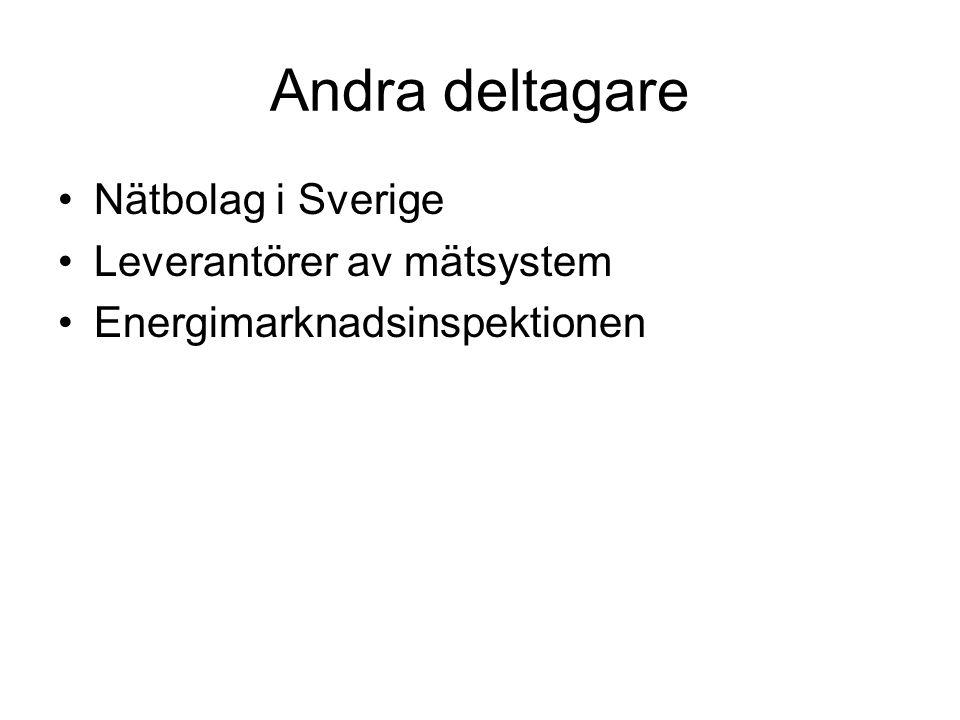 Andra deltagare Nätbolag i Sverige Leverantörer av mätsystem Energimarknadsinspektionen