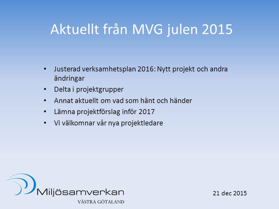 Aktuellt från MVG julen 2015 Justerad verksamhetsplan 2016: Nytt projekt och andra ändringar Delta i projektgrupper Annat aktuellt om vad som hänt och