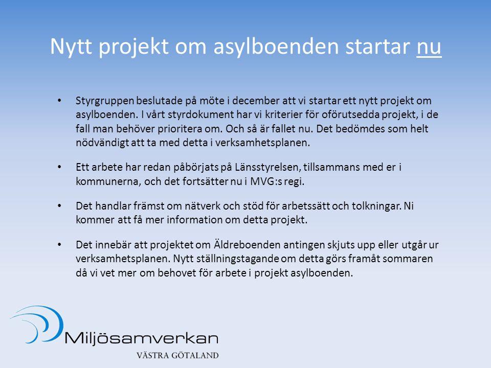 Nytt projekt om asylboenden startar nu Styrgruppen beslutade på möte i december att vi startar ett nytt projekt om asylboenden. I vårt styrdokument ha