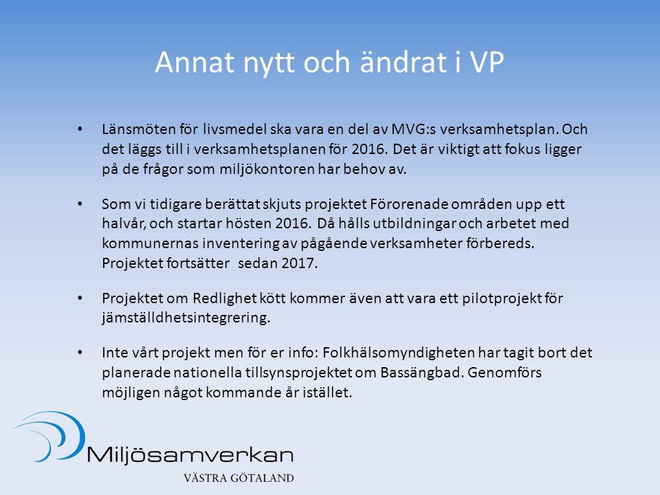 Annat nytt och ändrat i VP Länsmöten för livsmedel ska vara en del av MVG:s verksamhetsplan. Och det läggs till i verksamhetsplanen för 2016. Det är v