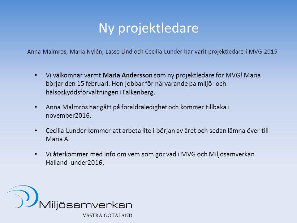 Ny projektledare Vi välkomnar varmt Maria Andersson som ny projektledare för MVG! Maria börjar den 15 februari. Hon jobbar för närvarande på miljö- oc
