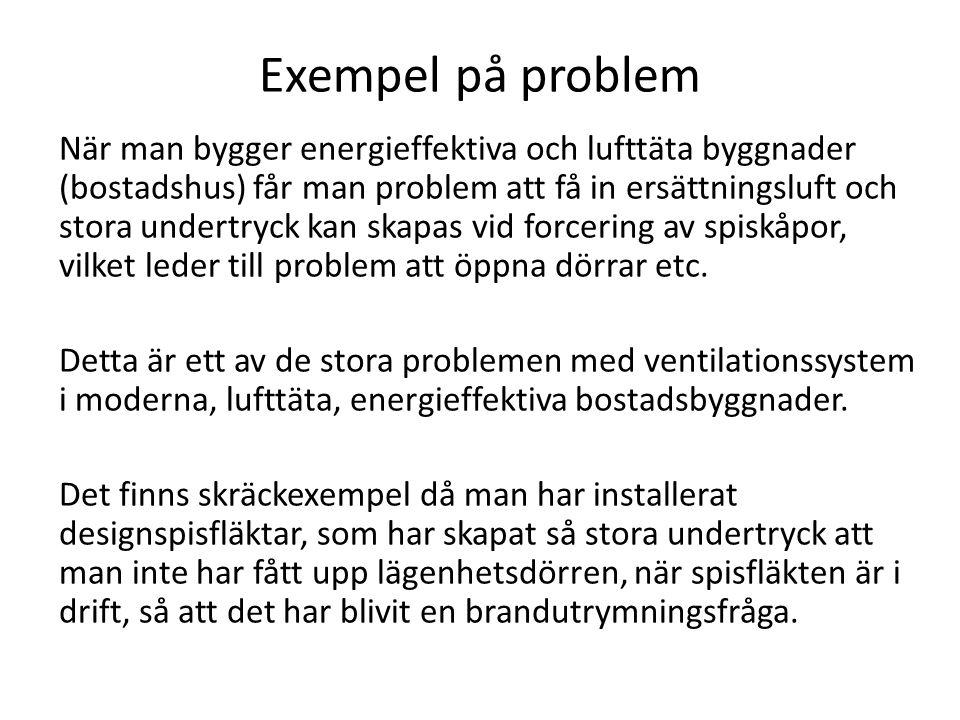 Exempel på problem När man bygger energieffektiva och lufttäta byggnader (bostadshus) får man problem att få in ersättningsluft och stora undertryck k