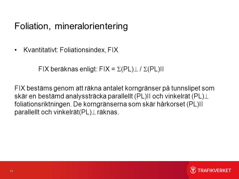 11 Foliation, mineralorientering Kvantitativt: Foliationsindex, FIX FIX beräknas enligt: FIX =  (PL)  /  (PL)II FIX bestäms genom att räkna antalet korngränser på tunnslipet som skär en bestämd analyssträcka parallellt (PL)II och vinkelrät (PL)  foliationsriktningen.