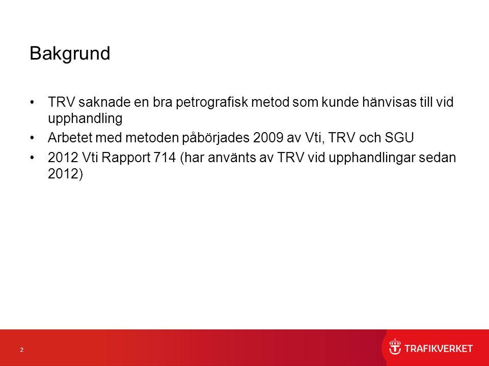 2 Bakgrund TRV saknade en bra petrografisk metod som kunde hänvisas till vid upphandling Arbetet med metoden påbörjades 2009 av Vti, TRV och SGU 2012 Vti Rapport 714 (har använts av TRV vid upphandlingar sedan 2012)