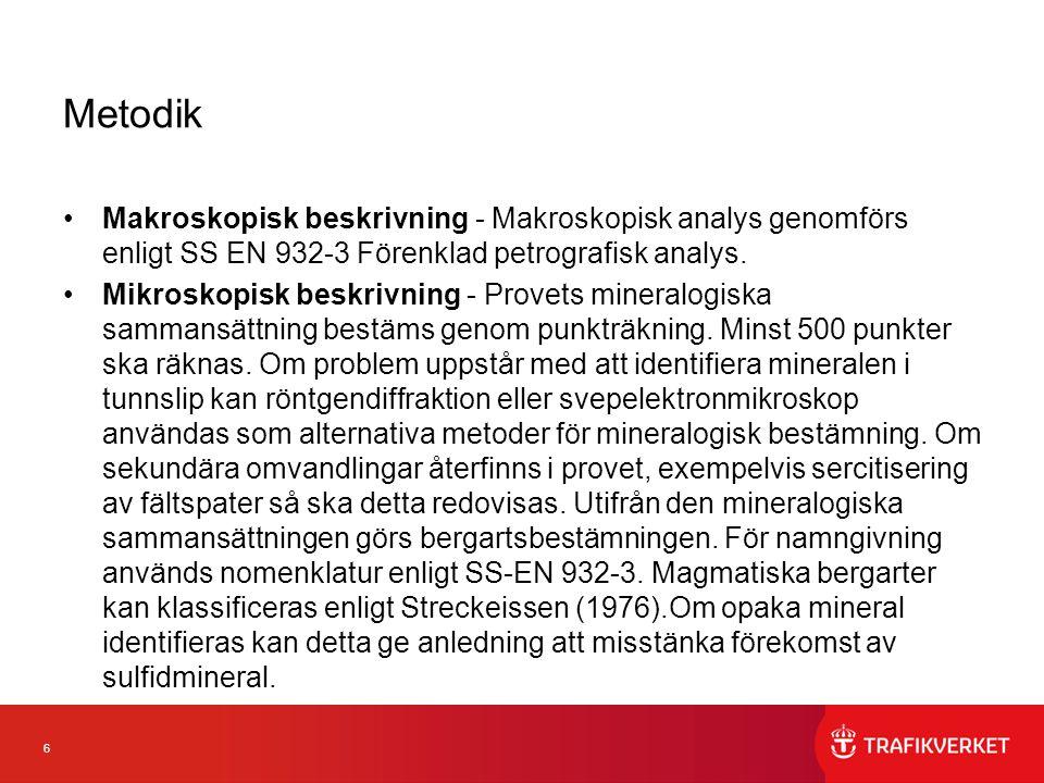 6 Metodik Makroskopisk beskrivning - Makroskopisk analys genomförs enligt SS EN 932-3 Förenklad petrografisk analys.