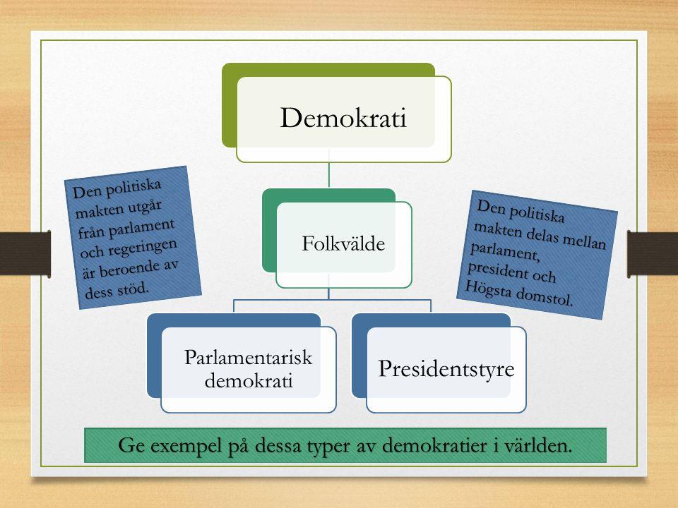 Demokrati Folkvälde Parlamentarisk demokrati Presidentstyre Den politiska makten delas mellan parlament, president och Högsta domstol.