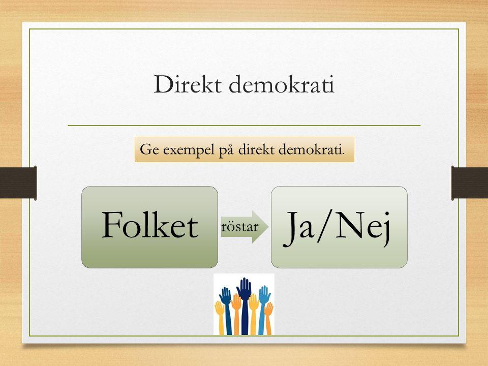 Direkt demokrati Folket röstar Ja/Nej Ge exempel på direkt demokrati.