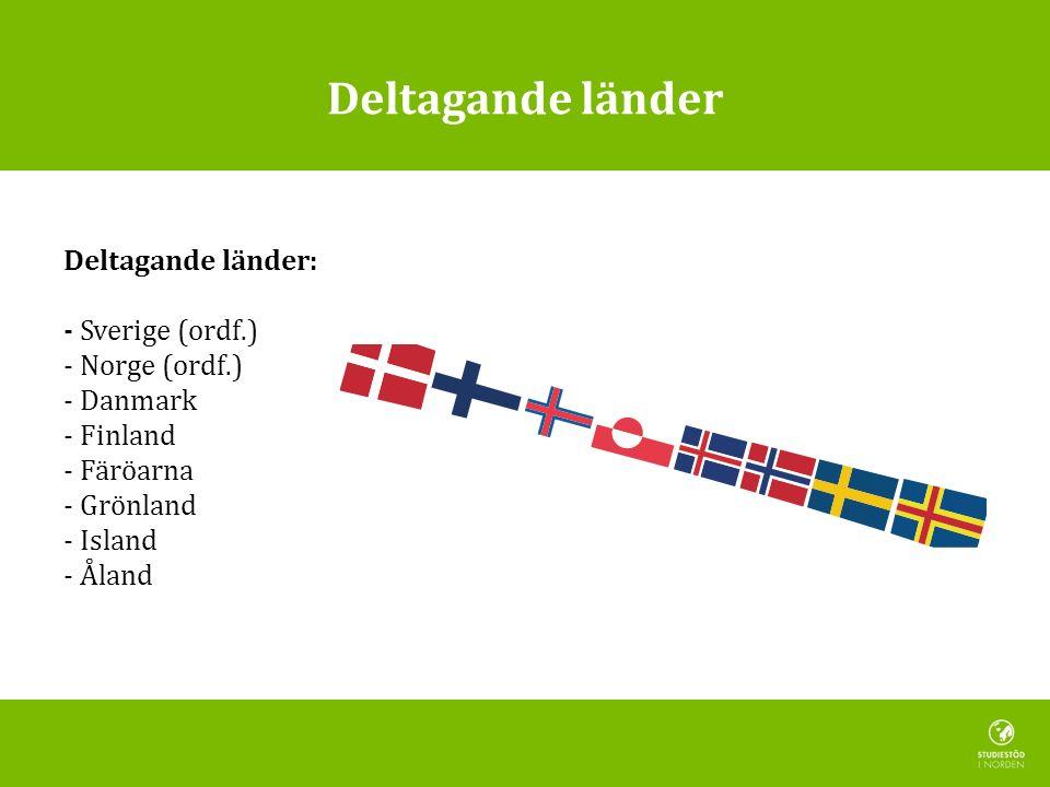 Deltagande länder Deltagande länder: - Sverige (ordf.) - Norge (ordf.) - Danmark - Finland - Färöarna - Grönland - Island - Åland
