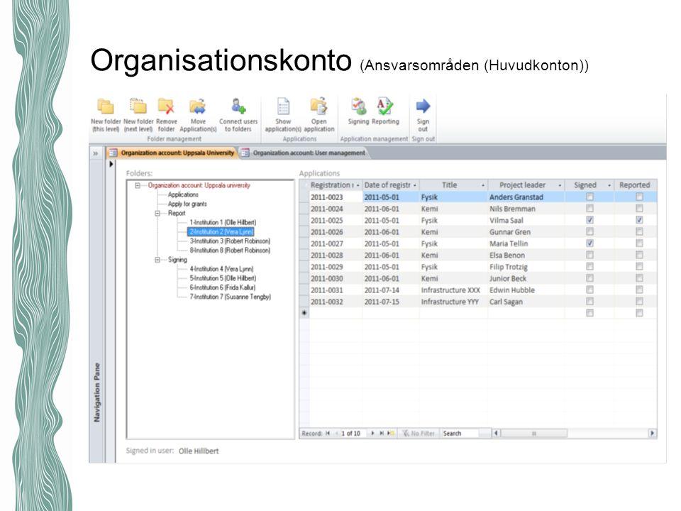 Organisationskonto (Ansvarsområden (Huvudkonton))